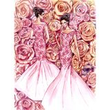 Feshion postacie na tle róże royalty ilustracja