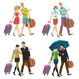 Newlywed couple with suitcases royalty free stock images