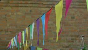 Festão colorido da bandeira video estoque