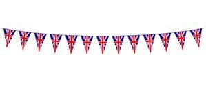 Festão com as flâmulas britânicas no fundo branco ilustração stock