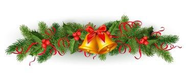Festão da árvore do abeto vermelho do azevinho do Natal do vetor Foto de Stock Royalty Free