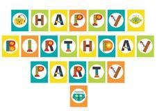 Festão da festa de anos com robô Imagens de Stock