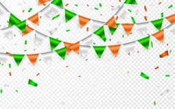 Festão das bandeiras ao dia do ` s de St Patrick Fundo do partido com festão das bandeiras Festões de bandeiras e de confetes ver ilustração royalty free