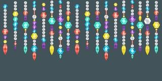 Festão decorativa das gemas, dos cristais e dos deamonds, gemas em uma corda Imagem de Stock Royalty Free