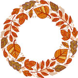 Festão do círculo das folhas de outono decorativas ilustração royalty free