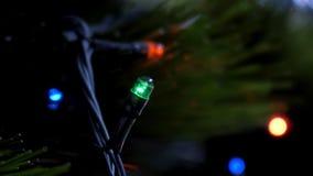 A festão do close up do movimento lento ilumina piscamentos na árvore de Natal video estoque