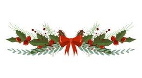 Festão do feriado do divisor do quadro da decoração do ramo de árvore do Natal ilustração royalty free