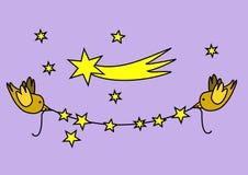 Festão do Natal com pássaros Imagens de Stock