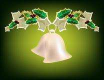 Festão do Natal com sinos de prata Fotografia de Stock