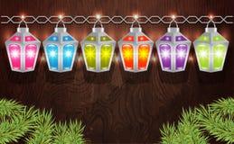 Festão do Natal de lanternas de incandescência Foto de Stock