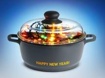 Festão do prato do ano novo na bandeja - conceito Foto de Stock Royalty Free