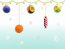 Festão e flocos de neve. 3D. Imagens de Stock