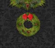 Festão e grinalda do Natal contra uma parede escura do damasco ilustração do vetor