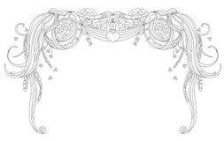 Festão e rosas abstratas em um fundo branco Ilustração do Vetor