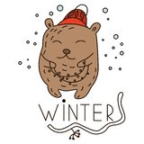 Festão levando do urso bonito da garatuja ilustração stock
