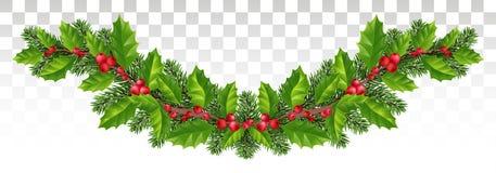 Festão longa de ramos do abeto vermelho, de azevinho e de bagas vermelhas festive ilustração royalty free