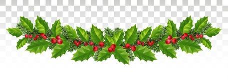 Festão longa de ramos do abeto vermelho, de azevinho e de bagas vermelhas festive ilustração do vetor