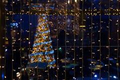 Festão no fundo da árvore de Natal Imagens de Stock