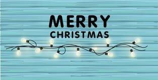 Festão realística do vetor do Natal com ampolas em um fundo de madeira bonito Feliz Natal que cria o cartão Imagens de Stock Royalty Free