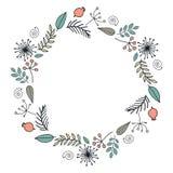 Festão redonda com a estação floral e as folhas, dogrose ilustração royalty free
