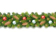 Festão sem emenda detalhada do Natal Fotografia de Stock Royalty Free