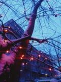 festão três das luzes de rua que nivela foto de stock