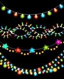 Festões coloridas das luzes de Natal ilustração stock