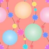 Festões com os grânulos coloridos enormes e flores pequenas em um fundo alaranjado Teste padrão sem emenda do vetor para seu proj Fotografia de Stock