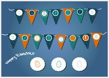 Festões da Páscoa do vetor com bandeiras, os ovos, corações e os coelhos triangulares Ilustração para cartões e convites de easte ilustração royalty free