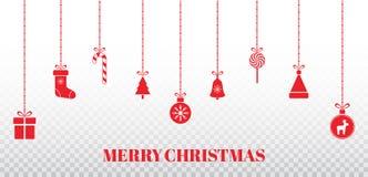 Festões do Natal no fundo transparente Projeto vermelho brilhante com os brinquedos de suspensão do Natal, caixa de presente do x ilustração royalty free
