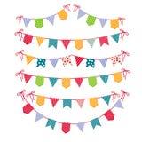 Festões festivas isoladas no fundo branco Ilustração ajustada do vetor da festão das bandeiras do partido do carnaval Imagem de Stock