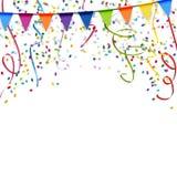 festões, flâmulas e fundo dos confetes Fotografia de Stock