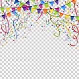 festões, flâmulas e fundo dos confetes com o vetor transpar Fotografia de Stock Royalty Free