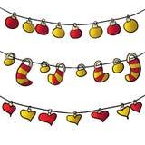 Festões para a foto do ano novo com corações Twirl vermelho de Digitas art ilustração do vetor