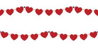 Festões vermelhas dos corações no branco Foto de Stock Royalty Free