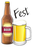 Fest with beer. Glass of beer with bottle of beer and black word fest Stock Images