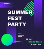 Fest da música eletrônica, eletro molde do cartaz do verão Inseto moderno do partido do clube Fundo abstrato da música dos inclin Fotografia de Stock