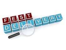 Fest delivery sign. 3d letter blocks spelling fest delivery with a magnifying glass, online concept Stock Photo