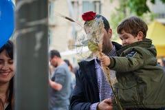 Fest des Heiligen Jordi, Schutzpatron von Katalonien lizenzfreies stockfoto