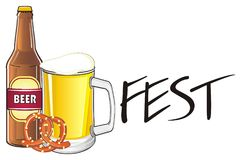 Fest with drink and food. Pretzel with glass and bottle of beer and word fest Stock Images