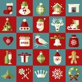 Fest von Weihnachten Vektorsatz Ikonen Lizenzfreie Stockfotografie