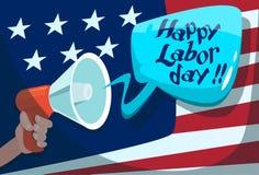 Festa americana di U.S.A. di festa del lavoro del fondo della bandiera degli Stati Uniti del megafono della tenuta della mano Fotografia Stock