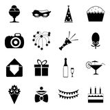 A festa de anos comemora a ilustração isolada do vetor dos ícones da silhueta e do grupo de símbolos Imagens de Stock