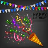 Festa de anos de explosão da panela de fazer pipoca dos confetes Fotografia de Stock Royalty Free