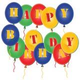 A festa de anos feliz Balloons o fundo Fotos de Stock Royalty Free