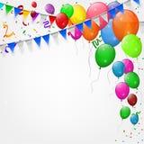Festa de anos feliz com balões e fundo das fitas Foto de Stock