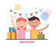 Festa de anos para crianças felizes Ilustração do vetor dos desenhos animados Fotografia de Stock