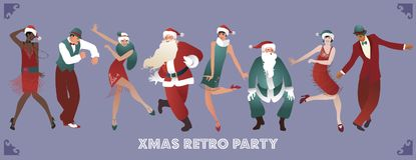Festa de Natal retro Grupo de quatro homens e de quatro meninas que dançam Charleston ilustração royalty free