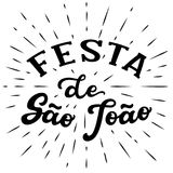 Festa de Sao Joao lettering. Festa de Sao Joao St. John`s holiday lettering poster. June holiday in Portugal. Hand drawn typography text. Vector calligraphy Royalty Free Stock Photo