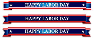 Festa del lavoro felice, insegna rossa con le stelle immagine stock libera da diritti